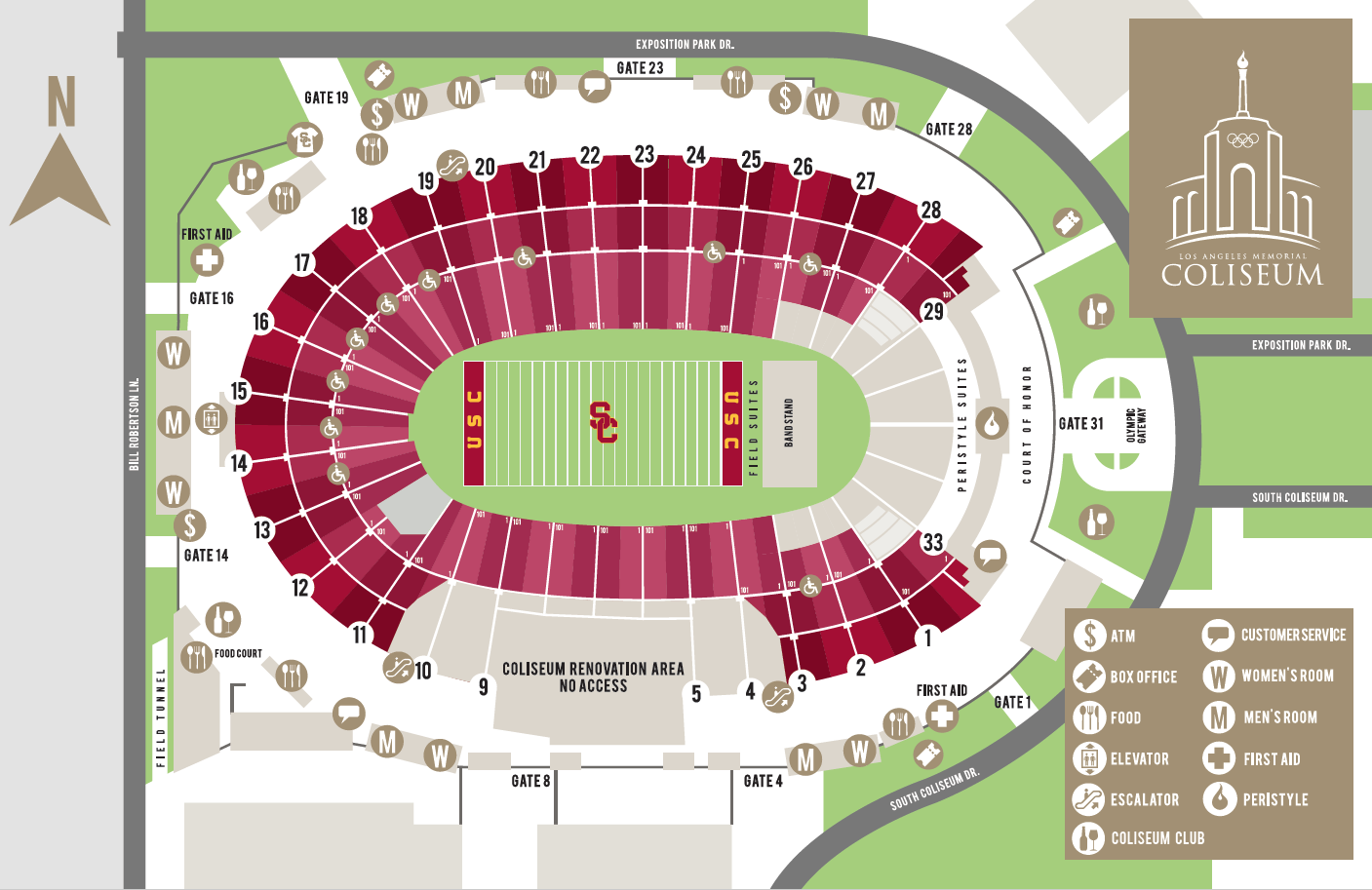 Coliseum maps los angeles coliseum