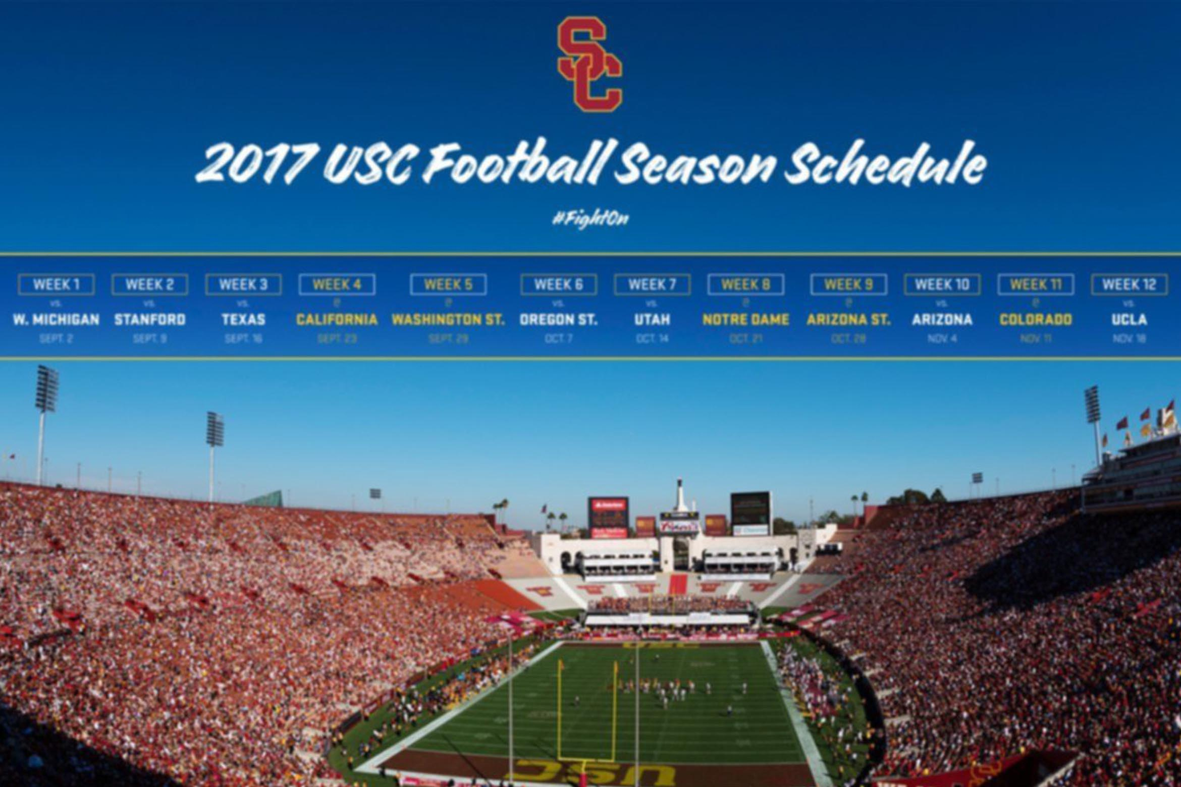 usc announces 2017 football schedule – los angeles coliseum